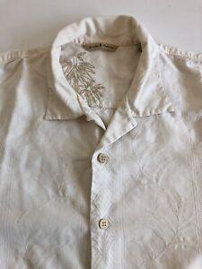 Tommy-Bahama-Hawaiian-Button-Front-Shirt-Men-039-s-Sz-L-Cream-Short-Sleeve-Silk