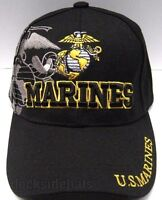 U.s.marine Corp Veteran Cap/hat W/shadow Black Military Free Shipping