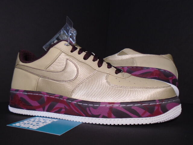 2007 Nike Air Force 1 Premium '07 TWEED GARNET BURGUNDY RED WHITE gold 12 10.5