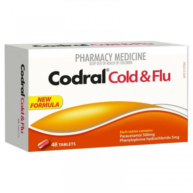 * CODRAL COLD & FLU PE 48 TABLETS HEADACHES FEVER BLOCKED RUNNY NOSE RELIEF