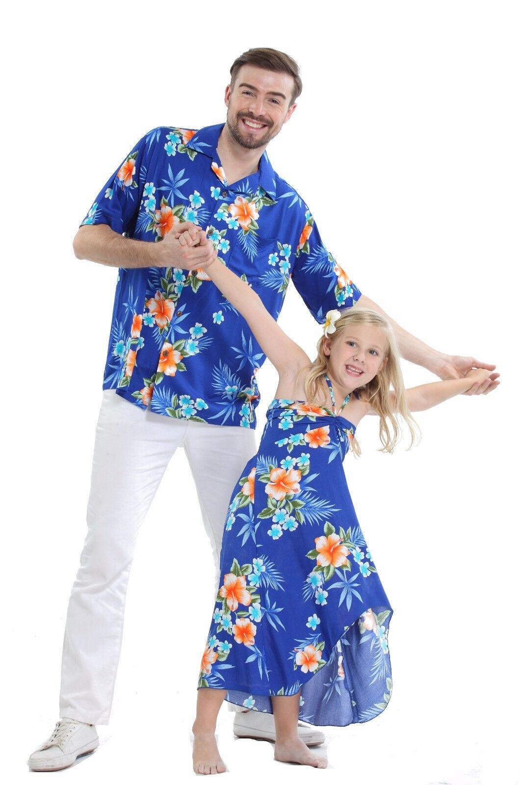 Father Daughter Matching Dress Shirt Hawaiian Dance Luau Party Blue Hibiscus