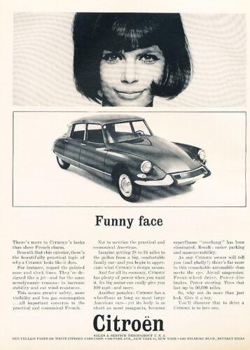 1963 Citroen DS DS21 Funny Face Original Car Print Advertisement Ad PE8