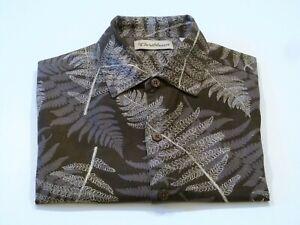 Caribbean-Mens-Large-Brown-Camp-Floral-Aloha-Hawaiian-Island-Short-Sleeve-Shirt