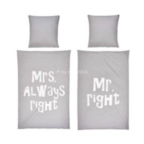 BETTWÄSCHE 20123 MRS ALWAYS RIGHT /& MR RIGHT MIKROFASER 135x200 NEUWARE