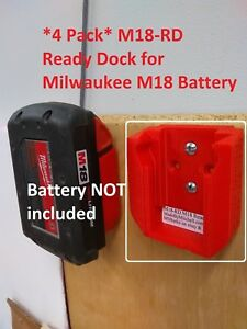 M18-Ready-Dock-Cover-Mount-Store-Milwaukee-18v-Battery-USA-4-Pack-PN-M18-RDx4