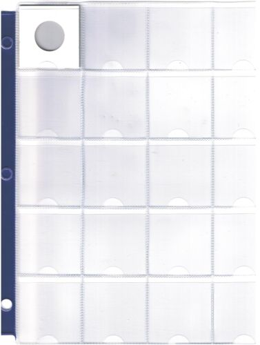 """ALBUM PAGE FITS 2/"""" X 2/"""" HOLDERS 3 RINGS WITH BLUE BAND 20 POCKET COIN SHEET"""