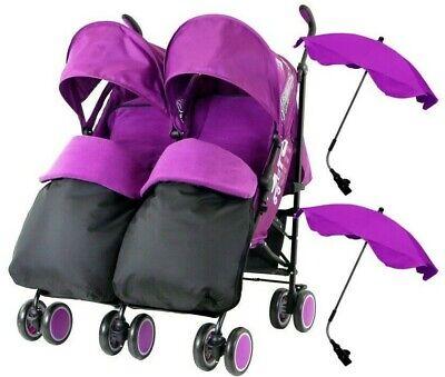 Purple Twin Stroller Pram Pushchair Buggy Inc Parasol Rain Cover /& Footmuffs