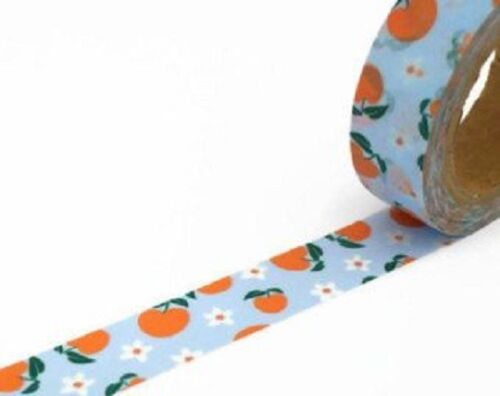 Peaches Washi Tape 15mm x 10 Metre Roll Sky Blue With Peach White Flowers