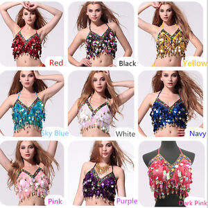 Au Sequins Beads Top Bra Gold Coins Belly Dance Costume