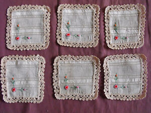 Pleasant To The Palate Creative #1517 Beautiful Vintage Embroidered 6 Linen Doilies 13cm/12cm 5''x4.5''