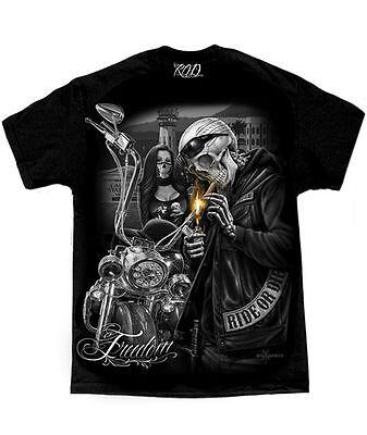 Mens Biker t-Shirt Motorcycle DGA Freedom Ride Or Die Graphic Skulls