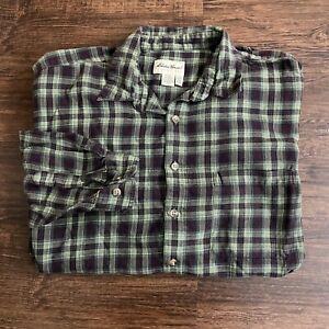 Eddie-Bauer-Long-Sleeve-Button-Up-Flannel-Shirt-Men-039-s-Tall-XXL-Green-Brown-Plaid