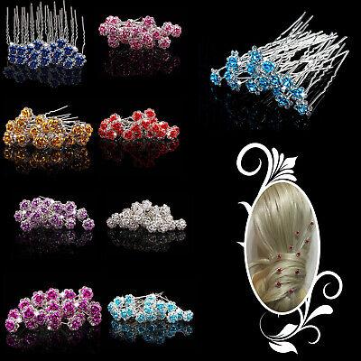 Bridal Hair Pins Clips Rhinestone Wedding Prom Party Rose Flower Crystal Jewelry