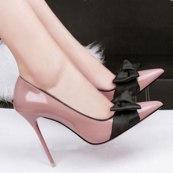Decolte scarpe donna CW041 eleganti rosa fiocco tacco 10 stiletto simil pelle CW041 donna 3d1fed