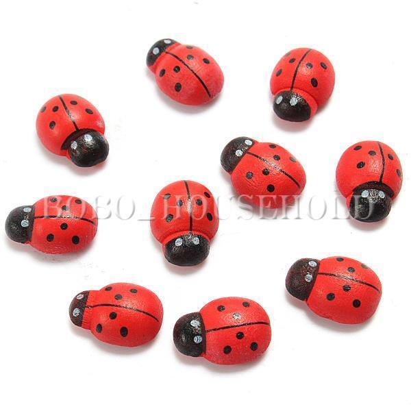 10pcs Wooden Cute Ladybug Insect Sticker Fridge Magnets Scrapbooking Home Decor