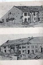 18264 AK Zeichnung von Wohnhäusern Einschusslöcher Granattreffer H.R.R. um 1915