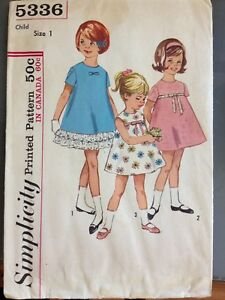 1960-039-s-Vintage-Pattern-Simplicity-5336-Child-039-s-Dress-Size-1