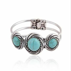 Jewelry-Retro-Silver-Plated-Bohemian-Bracelet-Bangle-Turquoise