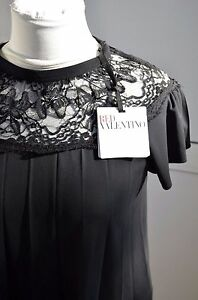 NWT-Red-Valentino-Cute-Top-Bow-Lace-Dress-Blouse-S-M-T-shirt-Black-Viscose