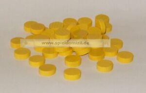 50-Scheiben-HOLZ-SPIELSTEINE-Bastelmaterial-PLATTCHEN-gelb-4-x-15-mm-NEU