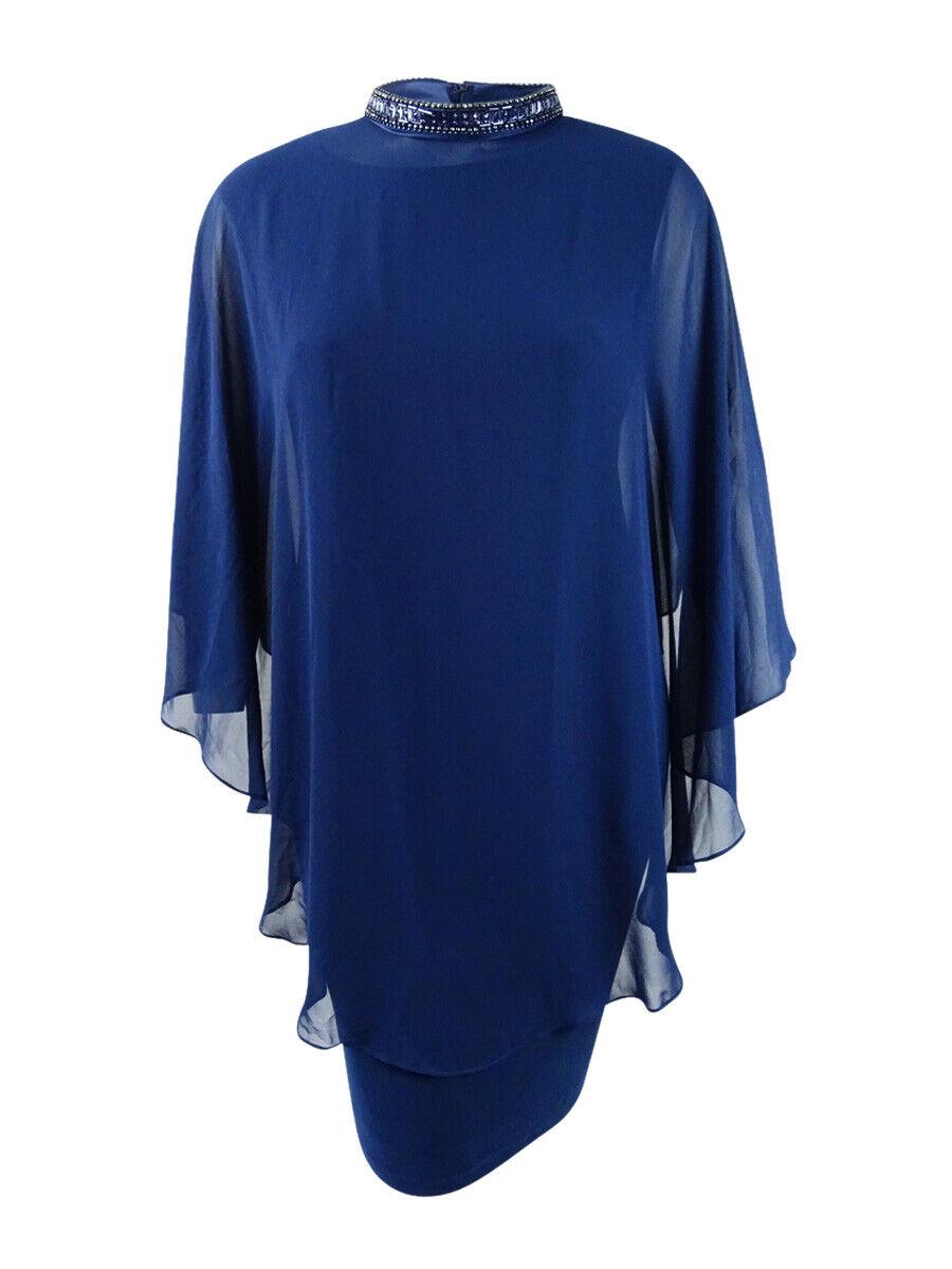 SL Fashions Woherren Plus Größe Tierot V-Neck Dress and Embellished Cape