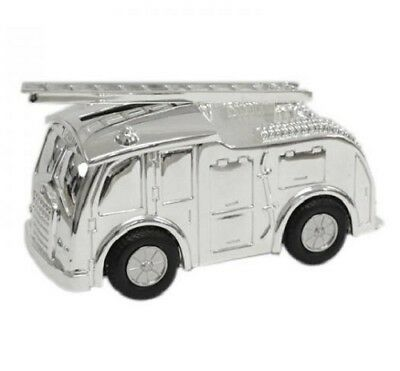 Silver Plated Fire Engine Money Box Christening Gift