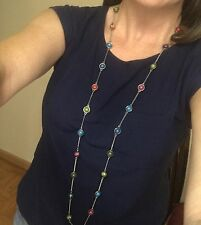 Long Necklace Red Green Pink Blue Aqua Beads Silver Color Womens Fashion Jewelry