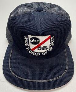 1980-s-ABC-Wide-World-Of-Sports-Black-Cotton-Corduroy-Mesh-Trucker-Snapback-Hat
