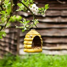 Hanging Bird Feeder Ceramic Beehive Shape Outdoor Garden Ornament Bee Hive