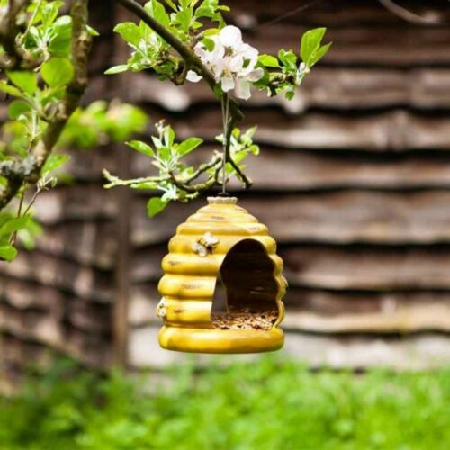 Suspendu Mangeoire à oiseaux en céramique Ruche Forme JARDIN EXTÉRIEUR ORNEMENT Bee Hive