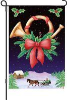 Christmas Horn Horse And Sleigh Garden Flag Small 18 X 12
