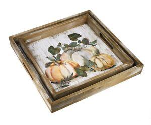 Ganz-H9-Thanksgiving-Nesting-Wooden-Serving-Trays-Watercolor-Harvest-Pumpkin