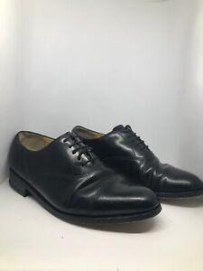 Mens-Barker-black-leather-lace-up-shoes-UK-8