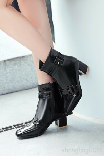 Womens Patent Leather Buckle Strap Block heels Shoes Square Toe Ankle Boots 2018