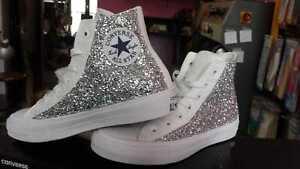 Detalles de Converse All Star Total Blanco con Lados Purpurina Plata Abajo Ojales