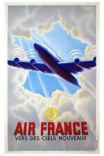 vintage TRAVEL POSTER french airline GLAMOROUS animated aeronautic 24X36 NEW