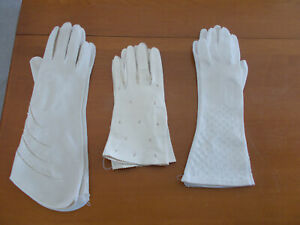 Vintage-Gloves-Lady-039-s-Lot-of-3-White-Ivory-Light-Tan-Fownes-Benefits-Pet-Rescue