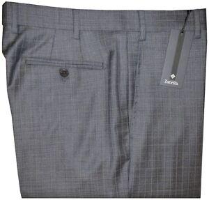 495-NWT-ZANELLA-NORDSTROM-DEVON-GRAY-w-BLU-GRID-SUPER-150-039-S-WOOL-DRESS-PANTS-40