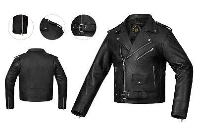 GüNstiger Verkauf %%sale%lederjacke Motorrad Biker Jacke 80's Old School Rockabilly Jacke Schwarz