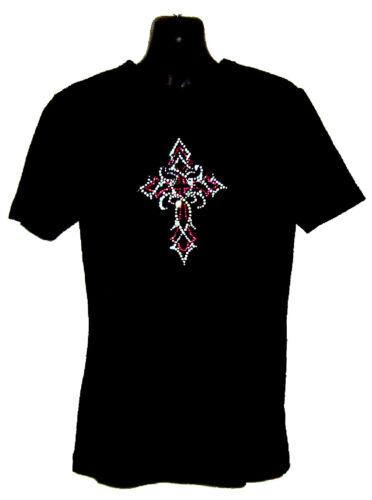 3 Anni a 13 Bambini Croce Gotica Pesante T Shirt Disegno Strass Cristalli
