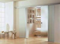 Doppel Soft Stop Glasschiebetür Glas Schiebetür matt 2x 900 x 2050mm BS900D+DPL