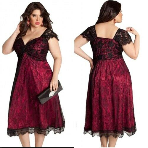 Details about Plus Size Black/Maroon Lace Plunge Evening Skater Dress Party  Prom Gala Dinner