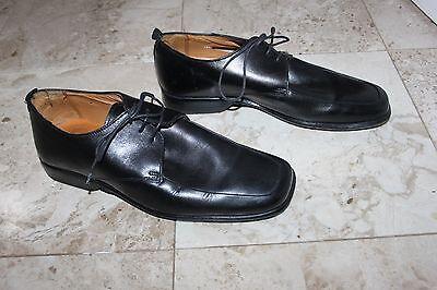 Para Hombre Negro Jeff Banks Londres zapatos talla 41 Reino Unido 7 cuero cordón Ups
