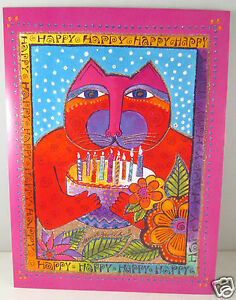 Laurel Burch Deluxe Greeting Card Happy Birthday Cat With Cake