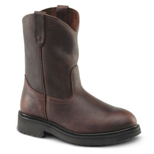 """New Mens Brown 10/"""" Roper Leather Steel Toe Work Boots BAT-107 Size 5-13 D, M"""