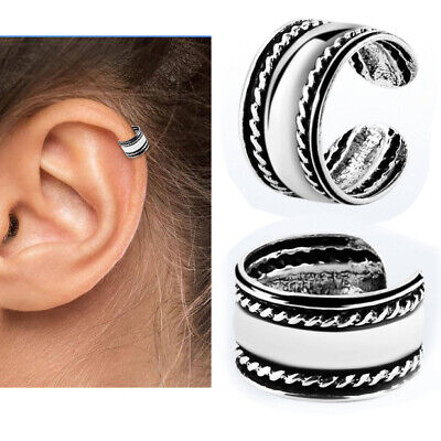 1-4PC No Piercing Clip On Sterling Silver Long Striped Ear Cuffs Helix Tragus US