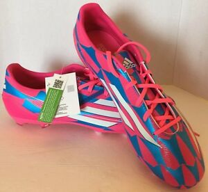 New Adidas F10 FG Neon Pink Blue Men Football Soccer Cleats Shoes