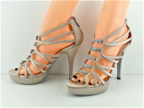 Nude Satin Shoes Jewel Diamante Zip Fasten 4.5/' Heel 1/' Platform VT Collection