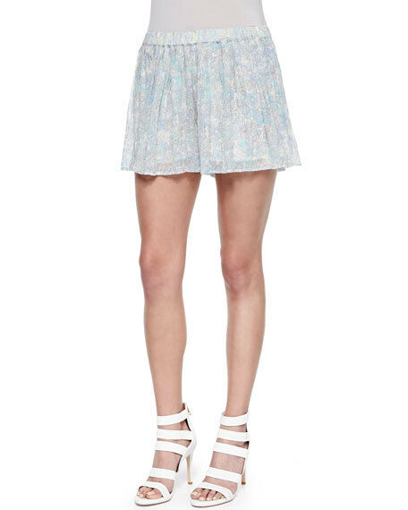 NWT  258 100% M Silk Joie Aeidra Pleated A Line Shorts Oasis bluee