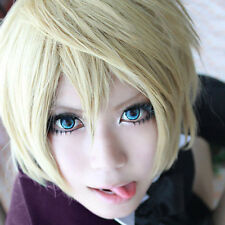 Unisex Short Straight Bob Hair Wig Alois Trancy Cosplay Costume Full Wig  Blonde